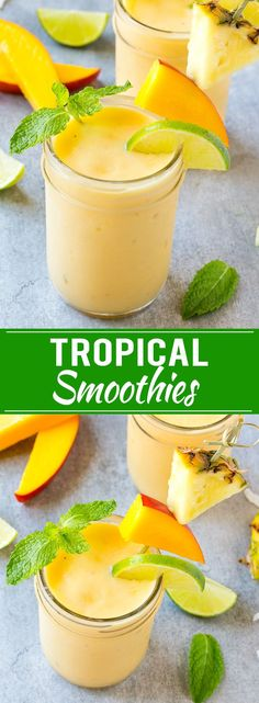 This tropical smoothie recipe is a blend of tropical fruit and coconut milk it's cool refreshing and packed with flavor and nutrients! The post This tropical smoothie recipe is a blend of tropical fruit and coconut milk it appeared first on Recipes. Tropical Smoothie Recipes, Fruit Smoothie Recipes, Fruit Drinks, Fruit Snacks, Yummy Drinks, Healthy Drinks, Fruit Juice, Healthy Recipes, Milk Recipes
