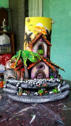 Paper Mache Clay, Paper Clay, Fun Crafts, Diy And Crafts, Arts And Crafts, Resin Art, Clay Art, Glass Bottle Crafts, Clay Houses