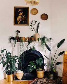 Indoor Gardens For Your Home Room Interior, Interior Design Living Room, Indoor Gardening Supplies, Room With Plants, Fireplace Mantle, House Rooms, Home Living Room, Boho Decor, Room Inspiration