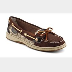 Never worn Sperry Topsiders Angelfish slip on Brown and gold glitter. Purchased as a gift for me however I'm typically a size 10-11 rather than 12 Sperry Top-Sider Shoes Flats & Loafers