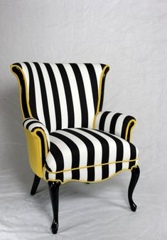 $1495. Black and White striped Vintage Round Wing Back Chair with Yellow Velvet