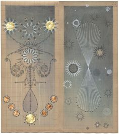 Constellation Symptom Graphite, colored pencil, ink, and copper leaf on antique ledger book pages. x inches Louise Despont Antique Illustration, Illustration Art, Graphite Illustrations, Design Illustrations, Muse Art, Sketch Notes, Box Art, Sacred Geometry, Designs To Draw