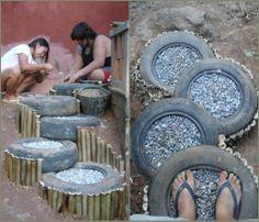 landscapes made of tires