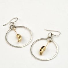 Ballet, 14K Gold and Sterling Silver Hoop Earrings. $400.00, via Etsy.