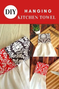 Use this easy sewing tutorial to whip up a hanging towel for your kitchen. This fun sewing project is the right one for a beginner seamstress. All you need are a few fabric scraps and a plain towel to whip up this easy DIY project. Use different colors and prints for the towel holder to spruce up your home. #freepattern #beginnerpattern #easypattern #hangingkitchentowelpatternfree #kitchentowelsewingprojects #kitchentowelsewingpatterns #kitchentowelsewingfreepattern #kitchentowelsewingideas