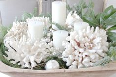 White Coastal Christmas with Coral. Decor Ideas on CC: http://www.completely-coastal.com/2013/11/white-coral-holiday-decor.html