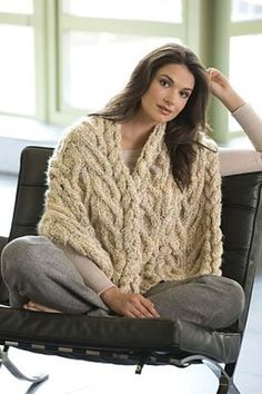Wrap yourself in texture! This oversize scarf is large enough to be used as a shawl and pretty enough to wear all winter long. (Lion Brand Yarn)