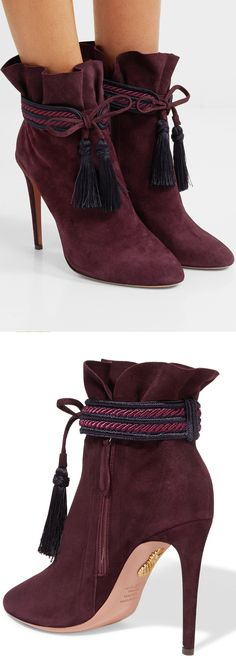 Aquazzura - Shanty Tasseled Suede Ankle Boots - Burgundy. Perfect winter evening boots with skinny ankle peg jeans and long chunky cosy jumper. Outfit ideas and inspiratuion. Autumn Fall fashion. Fashionista Tips. Stiletto Boots. #shoesdaytyuesday #affiliate #fashionista #shopping #boots #shoes