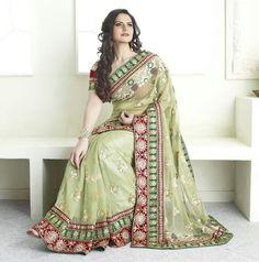 c1eb26240 Zarine khan in light green saree