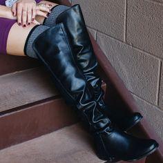 Rowena Knee High Boots - Black