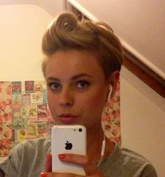Messy punky victory roll for short hair