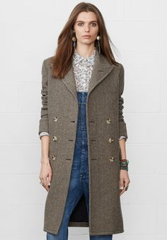 Layers for fall: Made from a soft wool blend, the Denim and Supply polished Long Herringbone Coat is designed with a flattering double-breasted silhouette and oversized pockets.