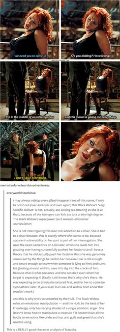 "The Avengers (2012) [gifset] - ""I'm in the middle of an interrogation and this moron is giving me everything."" - Black Widow/Natasha Romanova - interesting character analysis"