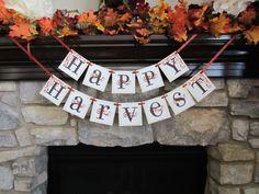 Happy Harvest Thanksgiving Sign / Banner / Garland. $24.00, via Etsy.