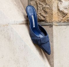 manolo blahnik heels with cutout design and ankle strap Fashion Heels, Sneakers Fashion, Manolo Blahnik Hangisi, Blue Shoes, Women's Shoes, Dupes, Womens Flats, Designer Shoes, Flat Mules