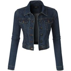 LE3NO Womens Classic Cropped Denim Jean Jacket ($34) ❤ liked on Polyvore featuring outerwear, jackets, tops, coats, coats & jackets, maxi jacket, pocket jacket, summer jackets, blue jackets and party jackets Denim Jacket Fashion, Cropped Denim Jacket, Vest Jacket, Denim Jackets, Cyber, Mall, Coats For Women, Group, Winter Jackets