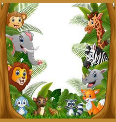 Animals forest meet together in frame Royalty Free Vector Safari Theme Birthday, 2nd Birthday Party Themes, Wild One Birthday Party, Happy Birthday, Safari Invitations, Baby Shower Invitations For Boys, Birthday Tarpaulin Design, Free Vector Images, Vector Free