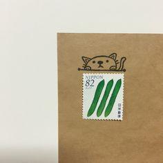 のぞきこむネコ Calligraphy Envelope, Envelope Art, Relationship Crafts, Dear Letter, Mail Art Envelopes, Pen Pal Letters, Handmade Stamps, Handwritten Letters, Snail Mail