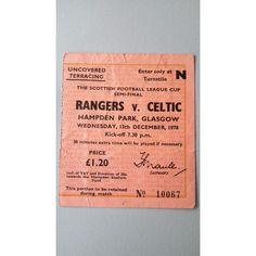 Rangers v Celtic Football Ticket Stub 13/12/1978 Scottish League Cup Semi Final Listing in the Scottish Club Leagues & Cups,Ticket Stubs,Football (Soccer),Memorabilia & Fan Store,Sport Memorabilia & Cards Category on eBid United Kingdom