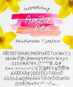Amzapen Handwritten Typeface #script  • Download here → https://graphicriver.net/item/amzapen-handwritten-typeface/21017572?ref=pxcr