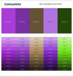 Green Color Pallete, Orange Palette, Purple Color Palettes, Pink Color Schemes, Color Combinations, Paint Swatches, Color Swatches, Color Names Chart, Hex Color Codes