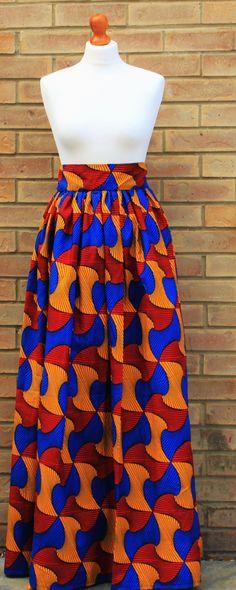 Jupe taille haute imprimé africain Ankara par AbrefiFashion sur Etsy
