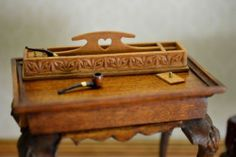 OOAK hand carved cherry wood pipe box with pipes dollhouse miniature 1:12 scale