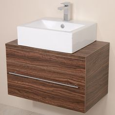 The contemporary Rec countertop basin combined with our Aspen wall mounted walnut cabinet providing a luxury washstation with bathroom storage Basin Vanity Unit, Bathroom Vanity Units, Wall Hung Vanity, Small Bathroom Storage, Bathroom Basin, Simple Bathroom, Bathroom Sets, Bathroom Flooring, Bathroom Furniture