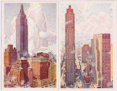 New York City Postcards , Empire State Building and Rockefeller Center