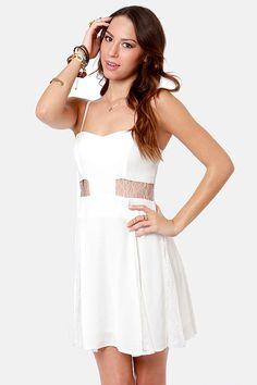 Pretty White Dress - Lace Dress - Cutout Dress - $50.00 reception dress?