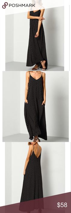 NWT Houndstooth Maxi dress with Pockets This dress is perfect for a night on the town or a simple beach coverup! Black Braces Deep Double V Neck Floral Houndstooth Print Cami Slip Dress with pockets and adjustable straps.  Bust(cm) : S:88cm, M:92cm, XL:100cm Dresses Length : S:132cm, M:135cm, XL:141cm Color : Black Sleeve Length : Sleeveless Dresses Length : Long Type : Shift Neckline : Slip MMC Dresses Maxi