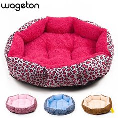! Colorful Leopard print Pet Cat and Dog bed  Pink, Blue, Yellowish brown, Deep pink, SIZE M,L