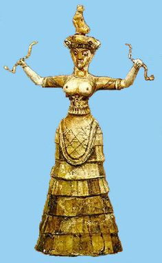"""A """"Mistress of Animals"""" holding snakes, from Sumer, ca 3000BC The goddess is supposed to be Innanna, who became Ishtar, Astarte, Aphrodite, Venus."""
