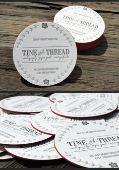 2 color letterpress round coaster business card w/ red edge print created by PrintGrain Round Business Cards, Business Card Maker, Business Card Design, Creative Business, Creative Cv, Envelopes, Name Card Design, Letterpress Business Cards, Logos