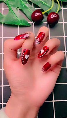 Simple nails art design video Tutorials Compilation Part 214 - The most beautiful nail designs Valentine's Day Nail Designs, Nail Art Designs Videos, Simple Nail Art Designs, Nails Design, Nail Art Saint-valentin, Fall Nail Art, Winter Nails, Summer Nails, Fall Nails