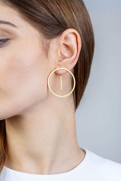 Minimalist Architectural Jewelry - Équateur Earrings in 18K Gold Plated Sterling Silver by MOPHT Studio #minimalistarchitecture