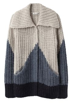 Bellone Long Cardigan by Tsumori Chisato.  Knit cardigan with large collar & knit color blocking at torso & sleeves.