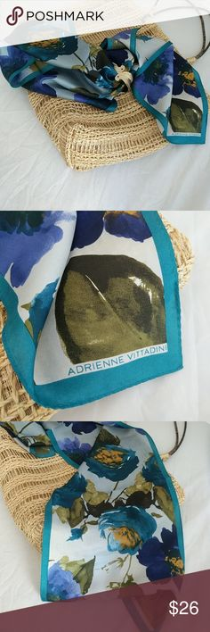 Adrienne Vittadini 100% silk scarf Beautiful vibrant colors of purple, teal, olive, steel grey. Adrienne Vittadini Accessories Scarves & Wraps