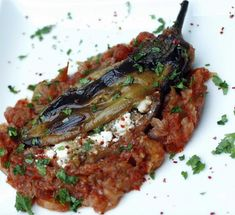 Eggplant stuffed with cheese and nuts