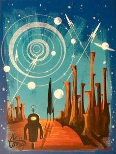 El Gato Gomez Mid Century Modern Art, Mid Century Art, Retro Robot, Futuristic Art, Alien Art, Science Fiction Art, To Infinity And Beyond, Retro Art, Sci Fi Art
