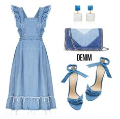 """""""All Denim, Head to Toe"""" by dressedbyrose ❤ liked on Polyvore featuring Alexandre Birman, Loulou De La Falaise, STELLA McCARTNEY, polyvoreeditorial and alldenim"""