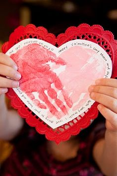 Valentine Hand Print Craft ~ Large Paper Heart Doilies, Art/Construction paper & Black Roller Ball Pens - are at the Dollar Store ~ Crayola washable paint Kinder Valentines, Valentines Day Activities, Valentines Day Party, Valentine Day Crafts, Be My Valentine, Holiday Crafts, Holiday Fun, Valentine Preschool Party, Valentines Day Crafts For Preschoolers