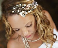 mermaid hair piece by Mona Lisa Maui  seashells and pearls on a light weight shapeable headband.