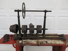 Antique Lathe Full Size Line Shaft Jack Shaft Flat Belt Driven Hit Miss | eBay