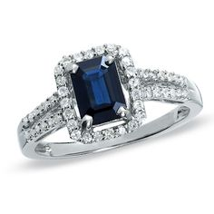 Emerald-Cut Sapphire and Diamond Ring in 10K White Gold  - Peoples Jewellers