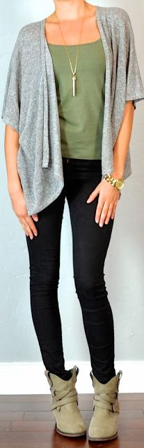 guest outfit post - sister week: grey slouchy cardigan, green tank, black skinny jeans, ankle boots - Outfit Posts