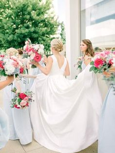 A Modern Southern Wedding with a Panama Twist at William Clinton Presidential Center Bridesmaid Outfit, Bridesmaids And Groomsmen, Wedding Bridesmaids, Wedding Gowns With Sleeves, Wedding Dresses, Wedding Poses, Wedding Ideas, Wedding Stuff, Bridal Robes