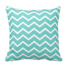 Aqua Pillow in Classic Chevron.