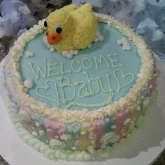 Baby Shower cake I made! Homemade Yellow Cake with Buttercream icing and Fondant. Buttercream Icing, Welcome Baby, Baby Shower Cakes, Cake Ideas, Babyshower, Fondant, Homemade, Yellow, Desserts