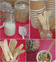 "Cereal Buffet - wooden spoons stamped with ""happy birthday"""